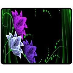 Neon Flowers Floral Rose Light Green Purple White Pink Sexy Double Sided Fleece Blanket (medium)  by Alisyart
