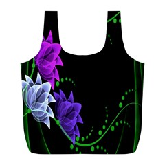 Neon Flowers Floral Rose Light Green Purple White Pink Sexy Full Print Recycle Bags (l)