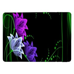 Neon Flowers Floral Rose Light Green Purple White Pink Sexy Samsung Galaxy Tab Pro 12 2  Flip Case by Alisyart
