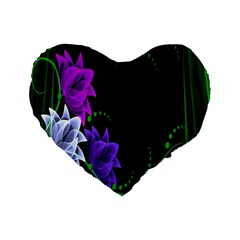 Neon Flowers Floral Rose Light Green Purple White Pink Sexy Standard 16  Premium Flano Heart Shape Cushions