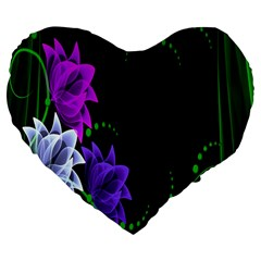 Neon Flowers Floral Rose Light Green Purple White Pink Sexy Large 19  Premium Flano Heart Shape Cushions