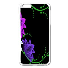 Neon Flowers Floral Rose Light Green Purple White Pink Sexy Apple Iphone 6 Plus/6s Plus Enamel White Case