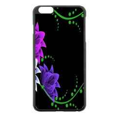 Neon Flowers Floral Rose Light Green Purple White Pink Sexy Apple Iphone 6 Plus/6s Plus Black Enamel Case