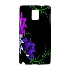 Neon Flowers Floral Rose Light Green Purple White Pink Sexy Samsung Galaxy Note 4 Hardshell Case