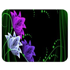 Neon Flowers Floral Rose Light Green Purple White Pink Sexy Double Sided Flano Blanket (medium)  by Alisyart