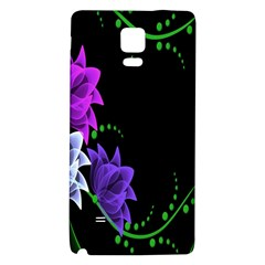 Neon Flowers Floral Rose Light Green Purple White Pink Sexy Galaxy Note 4 Back Case