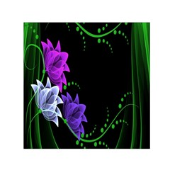 Neon Flowers Floral Rose Light Green Purple White Pink Sexy Small Satin Scarf (square)
