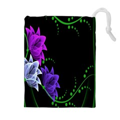 Neon Flowers Floral Rose Light Green Purple White Pink Sexy Drawstring Pouches (extra Large)