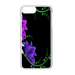 Neon Flowers Floral Rose Light Green Purple White Pink Sexy Apple Iphone 7 Plus White Seamless Case by Alisyart