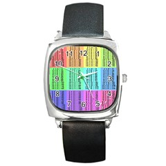 Multiplication Printable Table Color Rainbow Square Metal Watch by Alisyart