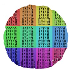Multiplication Printable Table Color Rainbow Large 18  Premium Flano Round Cushions