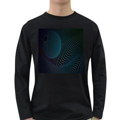 Line Light Blue Green Purple Circle Hole Wave Waves Long Sleeve Dark T Shirts by Alisyart