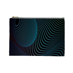 Line Light Blue Green Purple Circle Hole Wave Waves Cosmetic Bag (large)
