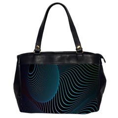Line Light Blue Green Purple Circle Hole Wave Waves Office Handbags (2 Sides)  by Alisyart