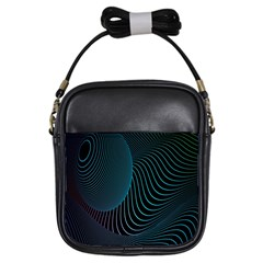 Line Light Blue Green Purple Circle Hole Wave Waves Girls Sling Bags by Alisyart