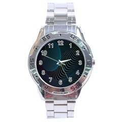 Line Light Blue Green Purple Circle Hole Wave Waves Stainless Steel Analogue Watch