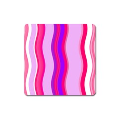 Pink Wave Purple Line Light Square Magnet by Alisyart