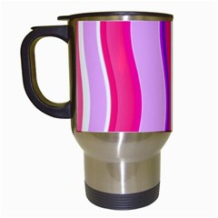 Pink Wave Purple Line Light Travel Mugs (white) by Alisyart