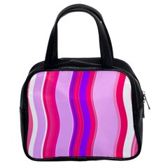 Pink Wave Purple Line Light Classic Handbags (2 Sides) by Alisyart