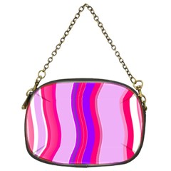 Pink Wave Purple Line Light Chain Purses (two Sides)  by Alisyart