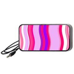 Pink Wave Purple Line Light Portable Speaker (black) by Alisyart