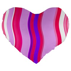 Pink Wave Purple Line Light Large 19  Premium Heart Shape Cushions by Alisyart