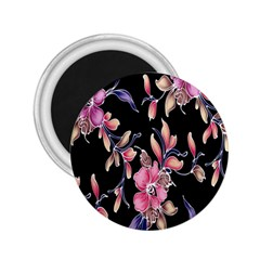 Neon Flowers Rose Sunflower Pink Purple Black 2 25  Magnets by Alisyart