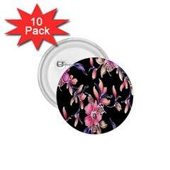 Neon Flowers Rose Sunflower Pink Purple Black 1 75  Buttons (10 Pack) by Alisyart