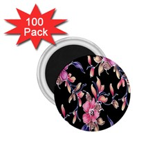 Neon Flowers Rose Sunflower Pink Purple Black 1 75  Magnets (100 Pack)  by Alisyart