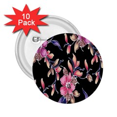 Neon Flowers Rose Sunflower Pink Purple Black 2 25  Buttons (10 Pack)  by Alisyart