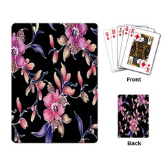 Neon Flowers Rose Sunflower Pink Purple Black Playing Card by Alisyart