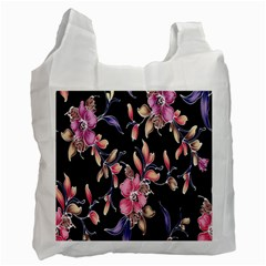 Neon Flowers Rose Sunflower Pink Purple Black Recycle Bag (two Side)  by Alisyart