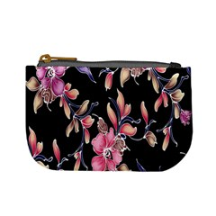 Neon Flowers Rose Sunflower Pink Purple Black Mini Coin Purses by Alisyart