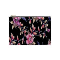 Neon Flowers Rose Sunflower Pink Purple Black Cosmetic Bag (medium)