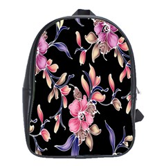 Neon Flowers Rose Sunflower Pink Purple Black School Bags(large)  by Alisyart