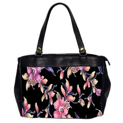 Neon Flowers Rose Sunflower Pink Purple Black Office Handbags (2 Sides)
