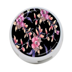 Neon Flowers Rose Sunflower Pink Purple Black 4 Port Usb Hub (two Sides)  by Alisyart