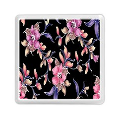 Neon Flowers Rose Sunflower Pink Purple Black Memory Card Reader (square)  by Alisyart