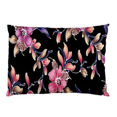 Neon Flowers Rose Sunflower Pink Purple Black Pillow Case (two Sides)