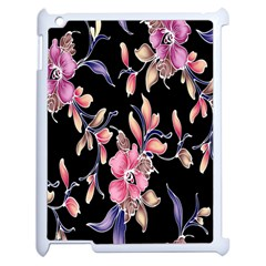 Neon Flowers Rose Sunflower Pink Purple Black Apple Ipad 2 Case (white) by Alisyart
