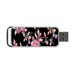 Neon Flowers Rose Sunflower Pink Purple Black Portable Usb Flash (one Side) by Alisyart