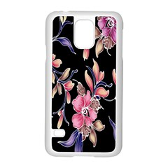 Neon Flowers Rose Sunflower Pink Purple Black Samsung Galaxy S5 Case (white)