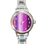 Pink Vertical Color Rainbow Purple Red Pink Line Round Italian Charm Watch Front