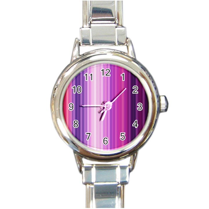 Pink Vertical Color Rainbow Purple Red Pink Line Round Italian Charm Watch