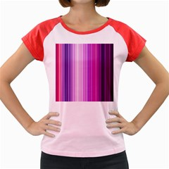Pink Vertical Color Rainbow Purple Red Pink Line Women s Cap Sleeve T Shirt
