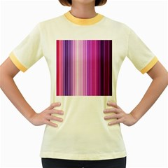 Pink Vertical Color Rainbow Purple Red Pink Line Women s Fitted Ringer T Shirts