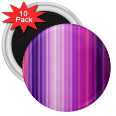 Pink Vertical Color Rainbow Purple Red Pink Line 3  Magnets (10 Pack)  by Alisyart
