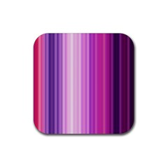 Pink Vertical Color Rainbow Purple Red Pink Line Rubber Square Coaster (4 Pack)  by Alisyart