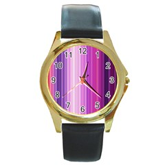 Pink Vertical Color Rainbow Purple Red Pink Line Round Gold Metal Watch