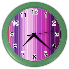Pink Vertical Color Rainbow Purple Red Pink Line Color Wall Clocks